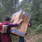 Carrying 45kg of washing machine up the 3 hours trail to Phajoding is not much fun