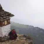 Taking a rest at a chorten near Thuji Lhakhang
