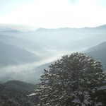 View across the himalayas in winter