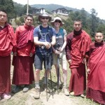 Trekkers with the friendly monks